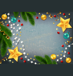 christmas frame elements composition vector image