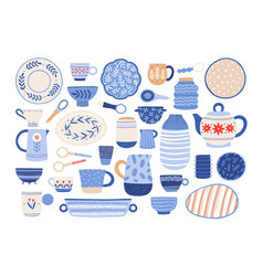 Collection of modern ceramic kitchen utensils or vector