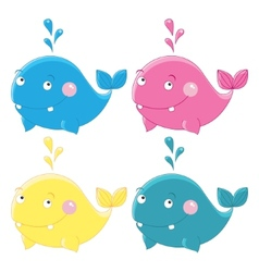 Colorful funny whales character vector