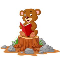 cute babear reading book on tree stump vector image
