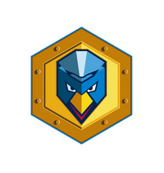 Cyber punk chicken hexagon icon vector