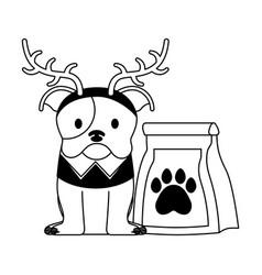 Dog merry christmas card vector