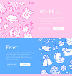 Doodle wedding elements web banner vector