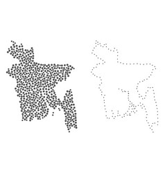 dotted contour map of bangladesh vector image