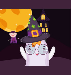 dracula ghost and house halloween vector image