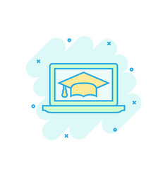 elearning education icon in comic style study vector image