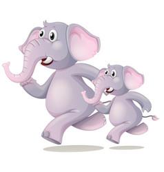 Elephant running on white background vector