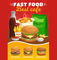 fast food burgers menu meals vector image