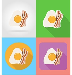 fast food flat icons 10 vector image