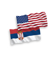 flags serbia and america on a white background vector image