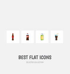 Flat icon drink set of fizzy drink bottle drink vector