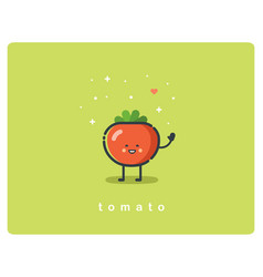 flat icon of tomato cute vegetable cartoon vector image