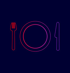 fork plate and knife line icon with vector image