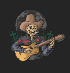 Funny skeleton play guitar vector