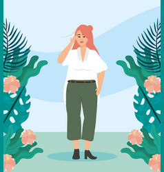 girl with blouse and pants casual clothes vector image