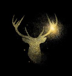 gold deer glitter concept icon symbol vector image
