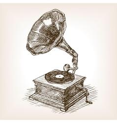 Gramophone sketch style vector