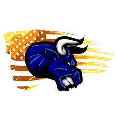 Grunge texture bull head or cow with usa flag vector