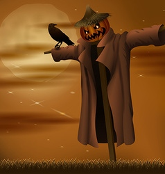 Halloween night evil scarecrow vector image