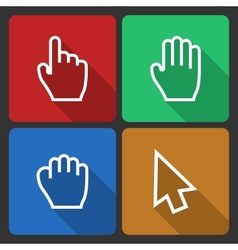 Hand Cursors Icons with Long Shadow vector