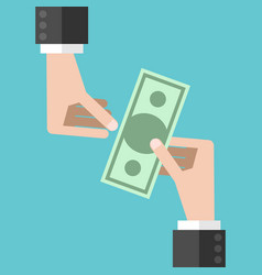 hands and money vector image