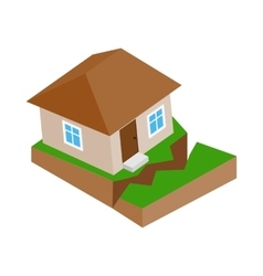 House with crack in the ground icon vector image