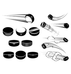 Ice hockey pucks set vector