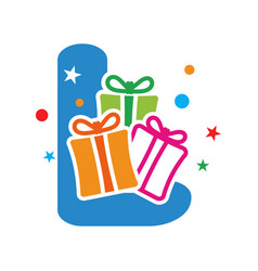 initial gift l vector image