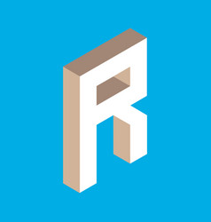 isometric letter r vector image