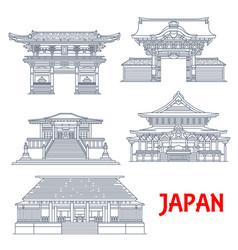 Japanese travel landmarks with buildings tokyo vector