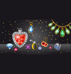 Jewelry collect banner horizontal cartoon style vector