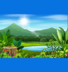 landscape views of mountains in the forest vector image