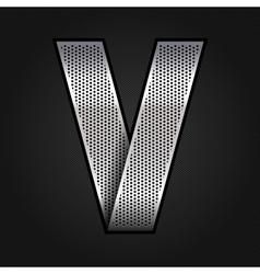 Letter metal chrome ribbon - V vector