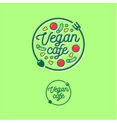 Logo vegan cafe fork spoon vegetables vector