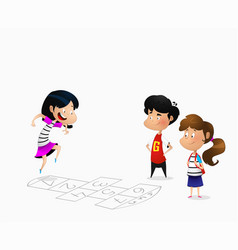 many children playing hopscotch vector image