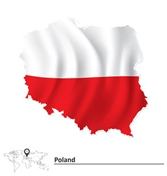 Map of Poland with flag vector
