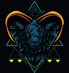 Mhytical goat sacred geometry vector