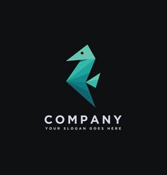 minimalist sea horse logo icon template vector image