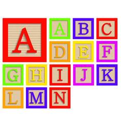 Modern wooden alphabet blocks set vector