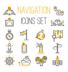 navigation outline location pin pictograph vector image