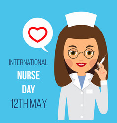Nurse day nurse is holding syringe in her hand vector
