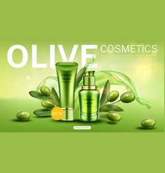 olive cosmetic bottles natural beauty product line vector image