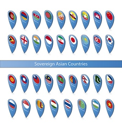 pin flags sovereign asian countries vector image