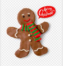 Plasticine of gingerbread man vector