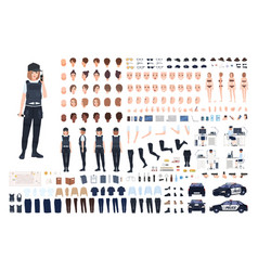 Policewoman animation set or diy kit bundle of vector