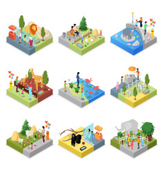 Public zoo landscapes isometric 3d set vector