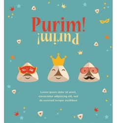 Purim party invitation with hipster Haman Ears vector image