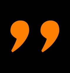 quote sign orange icon on black vector image