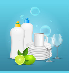 Realistic detailed 3d clean dishes and glassware vector