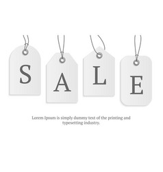realistic paper price tag with text sale stock vector image